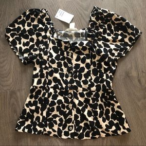 BNWT H&M linen subtle peplum blouse top
